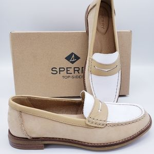 Sperry Seaport Penny Loafer 2Tone Tan White